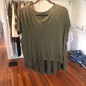 Tops - Dark Green High-Low Top